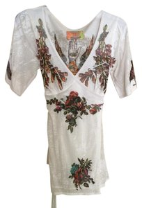 Butterfly Dropout Top White with orange, red, purple and green