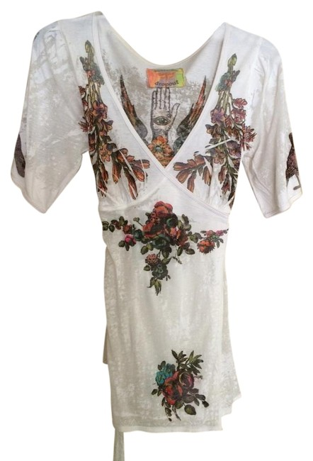 Item - White with Orange Red Purple and Green Wraparound Blouse Size 6 (S)