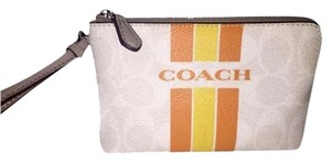 Coach Brand New with tags Coach Varsity Stripe Corner Zip Wristlet in Orange