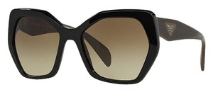 Prada Oversized Sunglasses PR 16R-F 1AB-1X1 Black with Brown / Gray Temples FREE 3 DAY SHIPPING