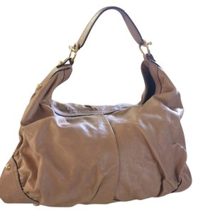 Gucci Leather One Excellent Condition Like New Dust Satchel in Tan with Gold embellishments