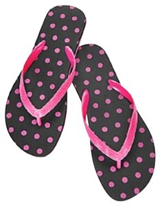 Macy's Beach Pool Travel Black and Pink Flats