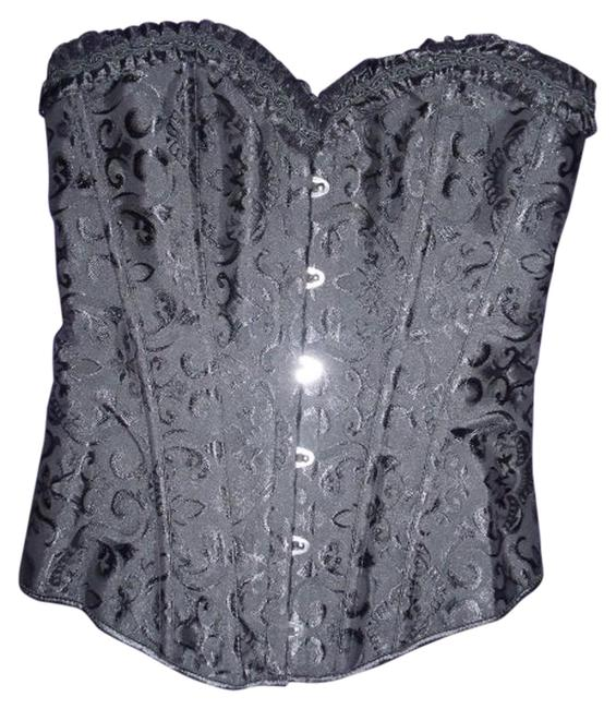 Other Lace Up Corset Boning Strapless Brocade Top Black