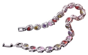 New Multi Color Gemstone 18k White Gold Filled Tennis Bracelet