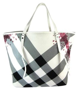 Burberry Nova Check Leather White Tote Shoulder Bag