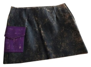 Acne Studios Leather Distressed Pocket Mini Skirt Brown