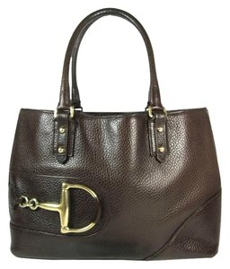 Gucci Brown Leather Horsebit Tote Shoulder Bag