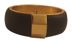 Vince Camuto Vince Camuto Black Leather Bangle w/Gold Hardware