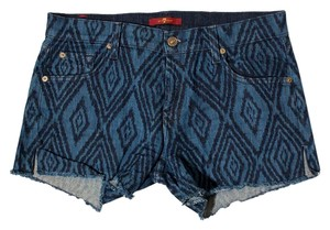 7 For All Mankind Printed Denim Cutoff Casual Cut Off Shorts Blue