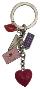 Coach COACH Love keychain silver red pink color