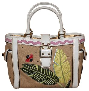 Coach Turnlock Ladybug Satchel Tote in Beige/Multi