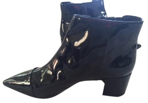 Nine West Never Been Worn Chunky Heel Leather Black patent Boots