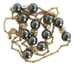 J.Crew J.Crew glass pearls gold long necklace with crystals.