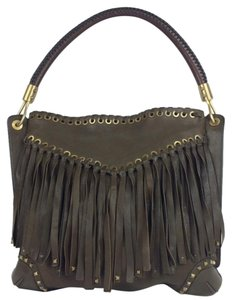 Michael Kors Fringe Leather Studded Leather Hobo Bag