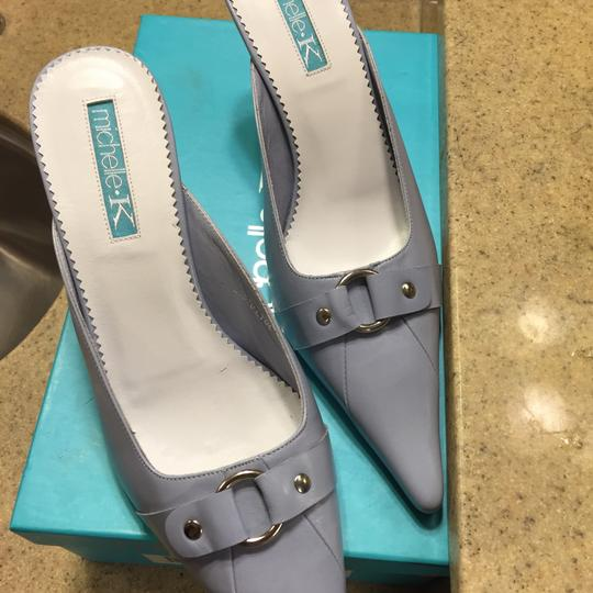 Michelle K Baby Blue Mules