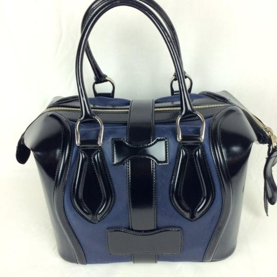 Balenciaga Leather Colorblock Satchel in black/blue