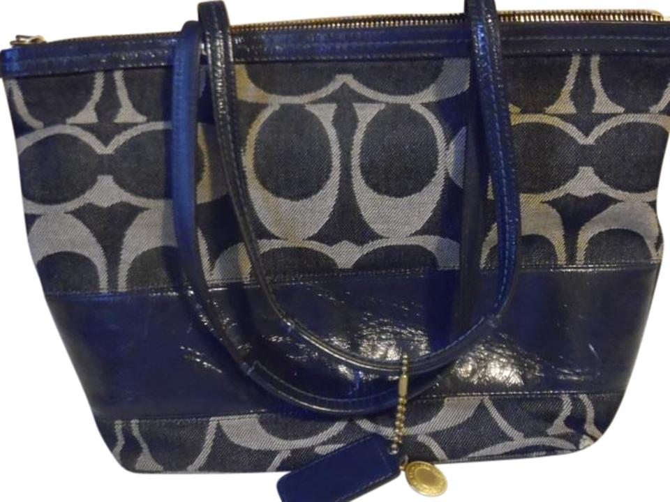 aa767d81e7 Coach Signature Handbag Purse Satchel Navy Blue Fabric W/Leather ...