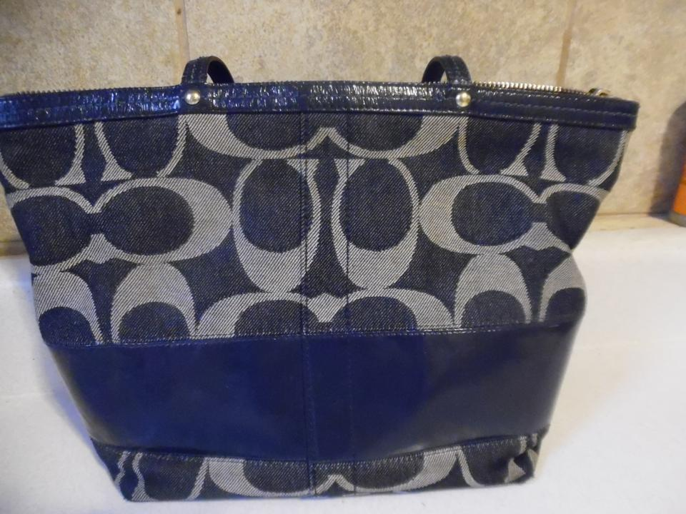 bd935102db Coach Signature Handbag Purse Satchel Navy Blue Fabric W/Leather Trim  Shoulder Bag - Tradesy