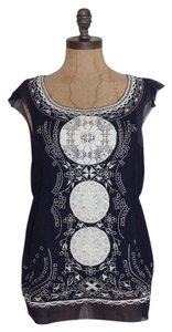 Calypso St. Barth Lace Embroidered Eyelet Silk Top BLUE