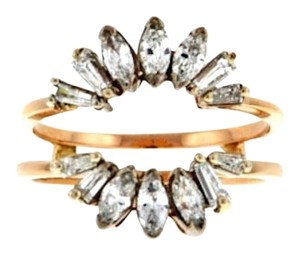 MUST SEE-14k gold Marquise and baguette diamond ring guard