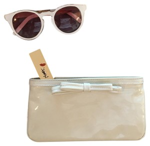Kate Spade Patent Leather White, silver Clutch