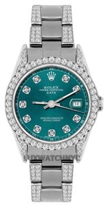 Rolex ROLEX 34MM DATE S/S 4.5 CT DIAMOND WATCH