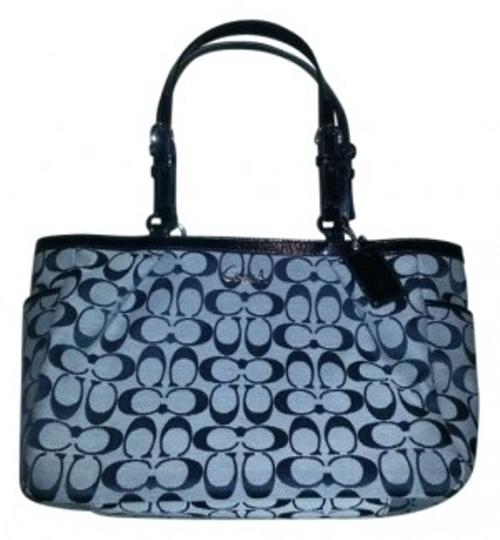 Preload https://item4.tradesy.com/images/coach-17725-gallery-east-west-handbag-black-signature-jacquard-fabric-with-leather-trim-tote-191053-0-0.jpg?width=440&height=440