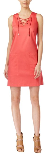 Preload https://img-static.tradesy.com/item/19105318/calvin-klein-watermellon-sleeveless-trapize-lace-up-above-knee-workoffice-dress-size-4-s-0-3-650-650.jpg