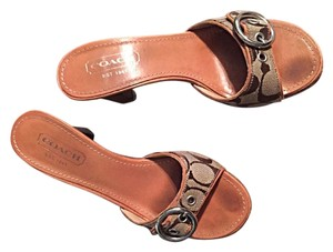 Coach Signature Brown & Beige Sandals