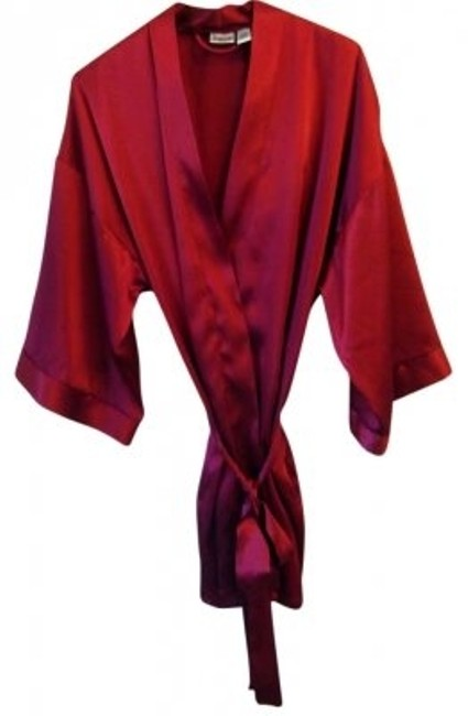 Item - Red Wrap Around Robe with Tie. Above Knee Short Casual Dress Size OS (one size)