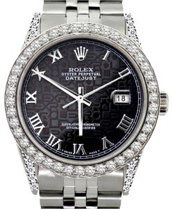 Rolex ROLEX MEN'S DATEJUST 5CT DIAMOND WATCH WITH ROLEX BOX & APPRAISAL