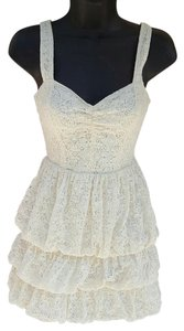 Guess short dress ivory Tiered Lace Crochet Sweetheart on Tradesy
