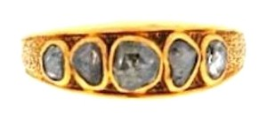 Other STUNNING 20 k yellow gold senaille cut diamond 5-stone band