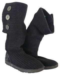 UGG Australia Knit Chunky Button Tall Black Boots
