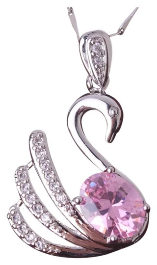 Preload https://img-static.tradesy.com/item/19105681/pink-and-silver-new-swarovski-element-swan-white-gold-filled-necklace-0-1-540-540.jpg