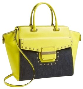 MILLY Leather Tote in LImeade