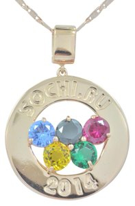 Other 14Kt Rose Gold Plated Sochi Olympics Medallion 2014 Gemstones Pendant