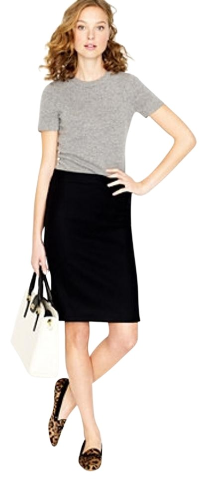 52c761b6a5 J.Crew Black No. 2 Pencil In Double-serge Wool Skirt Size Petite 6 ...