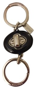 Coach Coach Black Turn Lock Valet Key Chain/Fob Silver Hardware