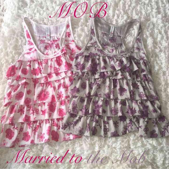 Married to the Mob Top Pink White Purple Gray Silver Grey