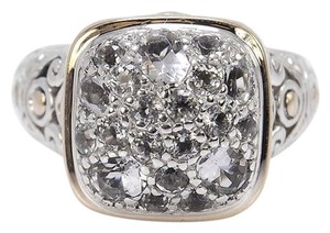 John Hardy size 5, sterling silver, white topaz, 18k yellow gold, ring