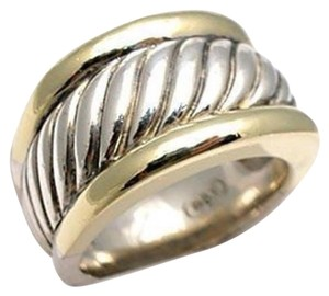 David Yurman size 6 - 6.50, sterling silver, 14k yellow gold, cigar band / ring