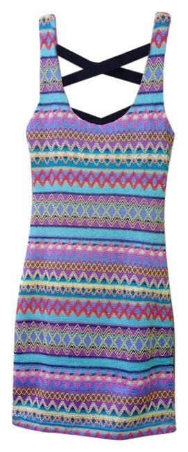 Reverse short dress Multicolored Weaved Crisscross Strap Striped Open Back Night Out on Tradesy