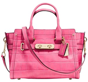Coach Swagger Crocodile Satchel in DAHLIA PINK