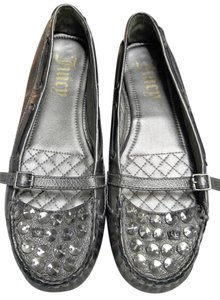 Juicy Couture Hardware Crystals Leather Studded Metallic Silver Flats