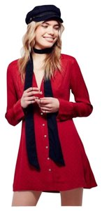 Free People Button Down Shirt Red