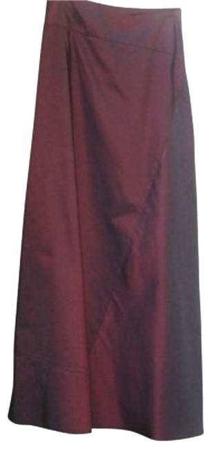 Calvin Klein Silk Full Length Maxi Skirt Burgandy