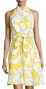 Diane von Furstenberg short dress Yellow Floral Halter Sleeveless Cotton Summer on Tradesy