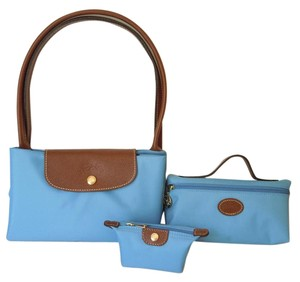 Longchamp Coin Case Pouch Cosmetic Tote in Cornflower blue