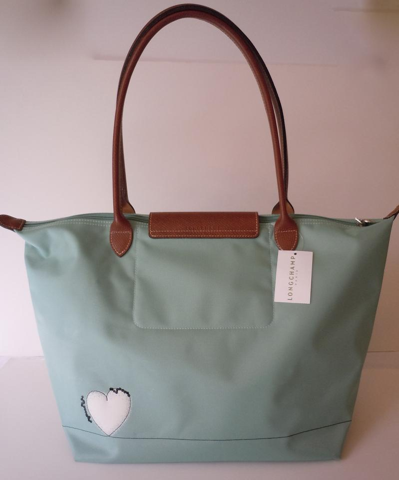 Longchamp Le Pliage Cage Aux Oiseaux Large 1899 France Lagoon Green Nylon  Leather Tote - Tradesy 5b1d3131542cc